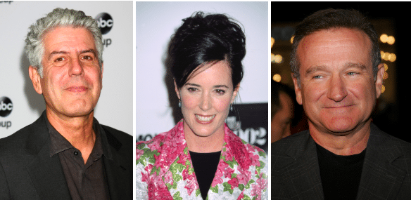 Anthony Bourdain, Kate Spade, Robin WIlliams photos for Suicide Awareness