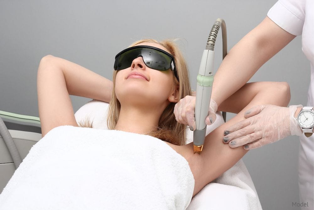 Laser Hair Removal uses a laser device to remove unwanted hair.