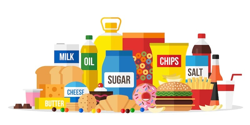 an illustration of processed foods that should be avoided
